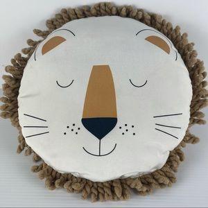 Kids Lion Round Rope Edge White Cushion
